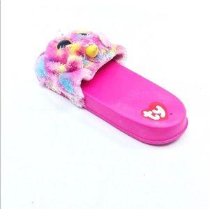 5105d19d4 TY Beanie Boo Shoes - NWT Beanie Boo Girls Pink Fluffy Unicorn Slides 濾